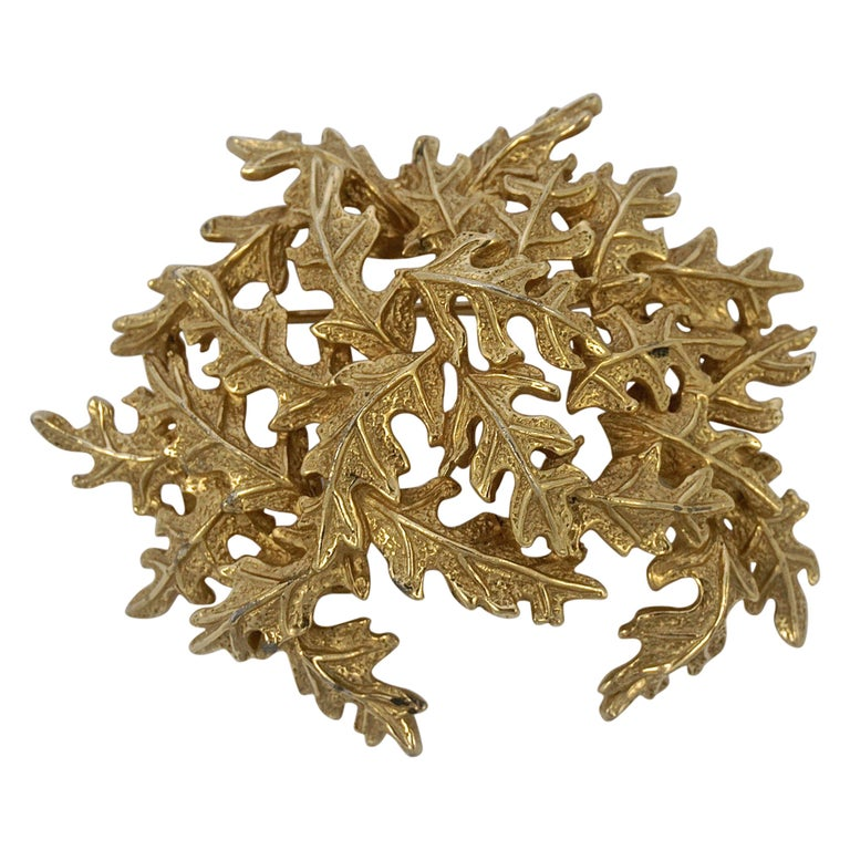 Castlecliff Gold Plated Leaves Statement Brooch For Sale