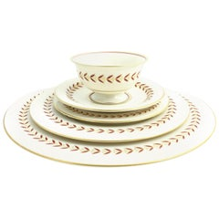 Castleton Regina Burgundy Gilt White China Dinner Service for 12