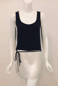 Casual Chanel Black and Ivory Silk Short Tunic Dress
