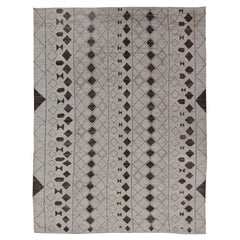 Casual Modern Design Moroccan Style Rug in Bold Brown Motifs White/Ivory Tones