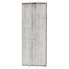 Casual Modern Gallery Rug in White and Brown Tones and Minimalist Design