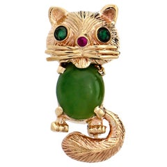Cat and Frog Jade Ruby Emerald Convertible Set Yellow Gold Brooch Ring