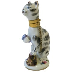Cat and Mouse Porcelain Perfume Bottle with Brass Collar and Removeable Head