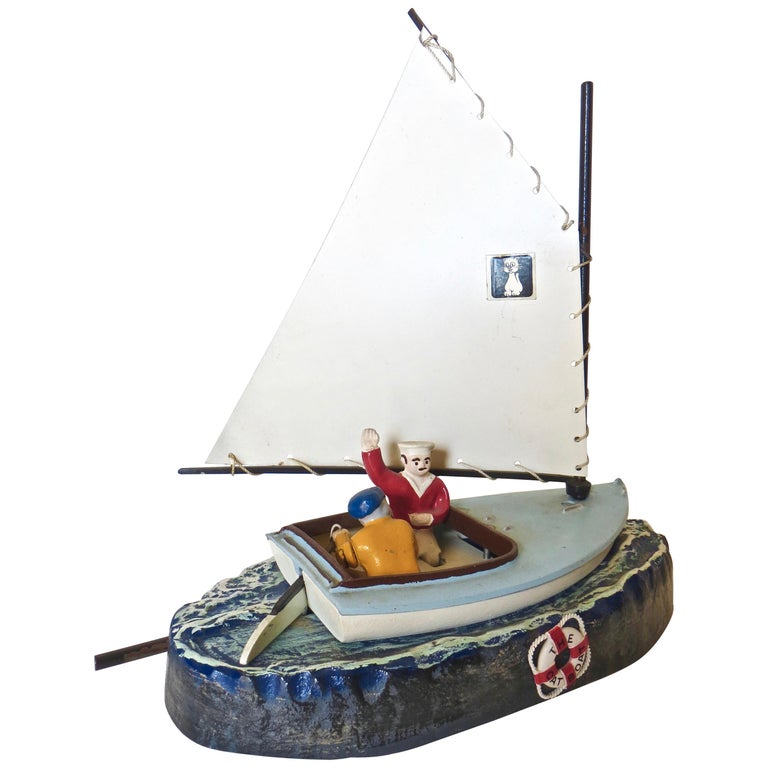 """""""Cat Boat"""" Mechanical Toy Penny Bank, American, circa 1968 For Sale"""