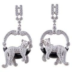 Cat Earrings Diamonds Onyx 18 Karat
