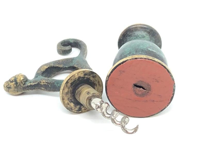 Austrian Cat Figural Animal Corkscrew, Bronze Brass, Vienna, Austria, 1950s, Midcentury For Sale