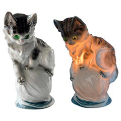 Cat Figurine Lamp Early 20th Century Ozon Table Lamp