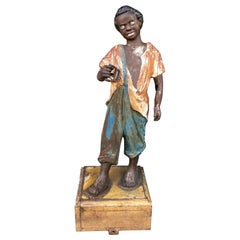 Cat Iron Lawn Jockey in African American Figural Form