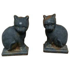 Andirons Cast Iron Cat Shaped 19th Century