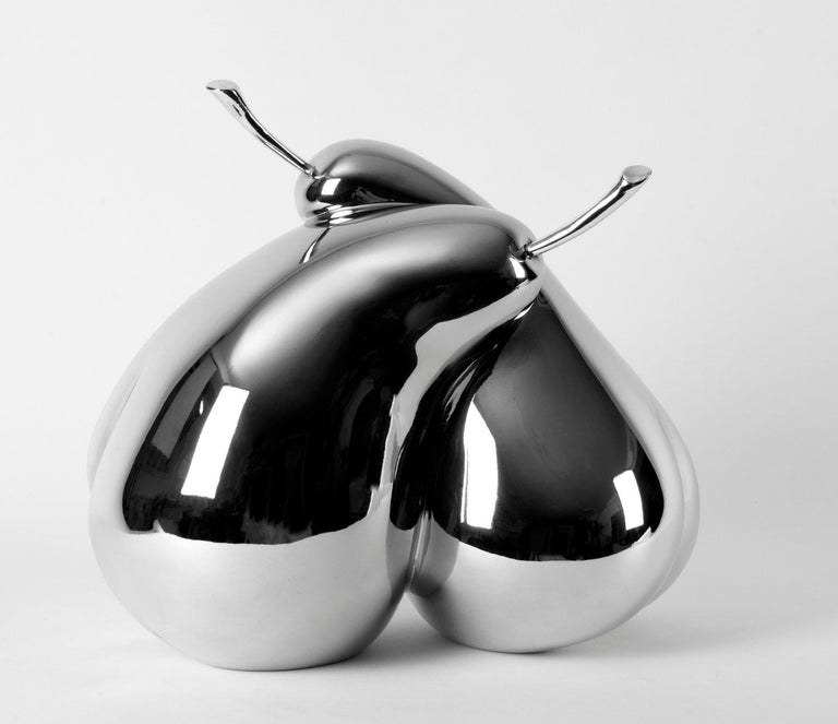 Cat Sirot Figurative Sculpture - Love Pears - Silver