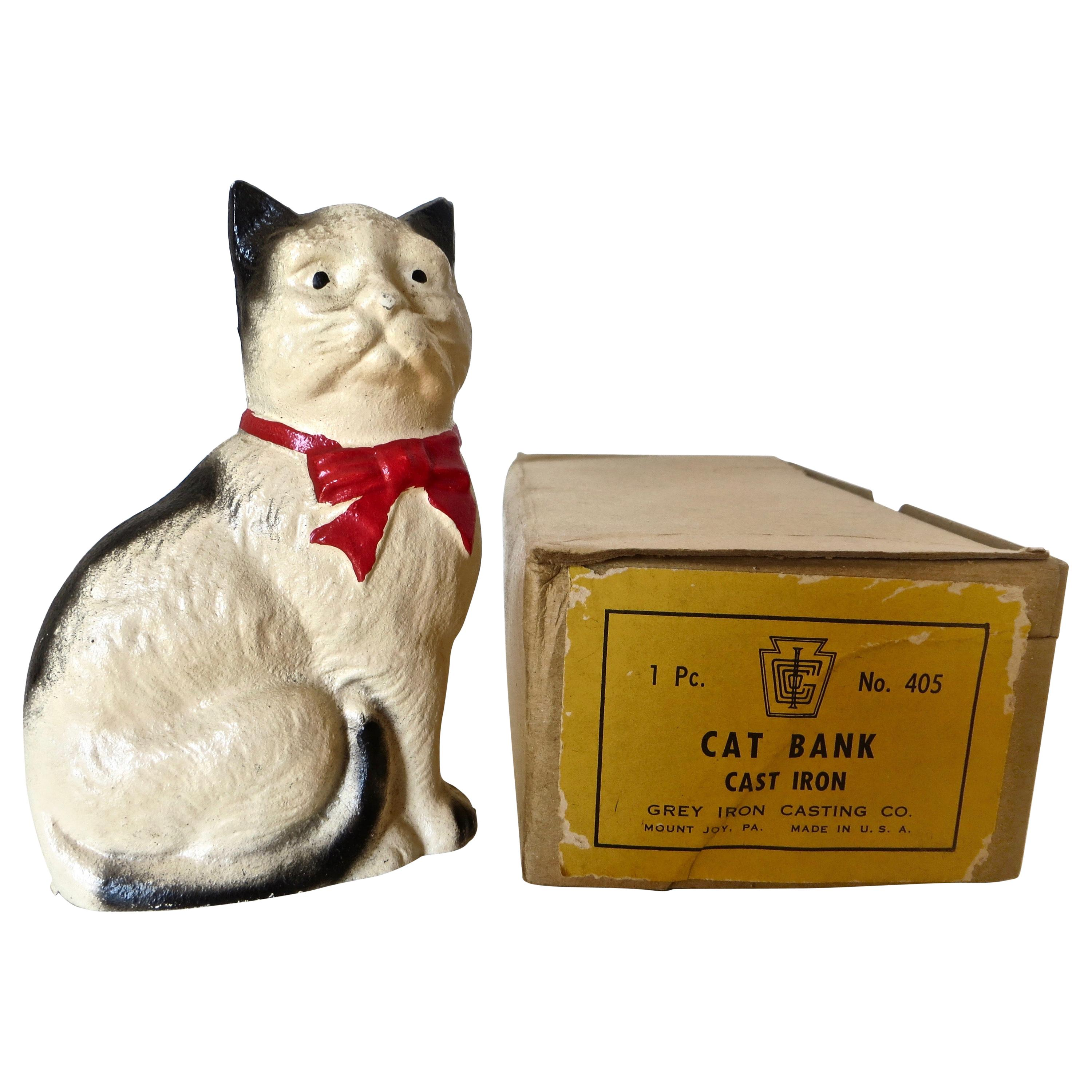 """""""Cat With A Bow Seated"""" Still Bank, American, circa 1970"""