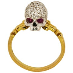 Catacomb Saint Diamond Encrusted Skull Ring in 18kt Gold with Diamonds & Rubies