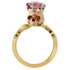 Catacomb Saint Skull Ring in 18 Karat Yellow & Rose Gold, Platinum & Tourmaline