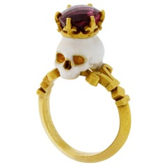 Catacomb Saint Skull Ring in 22 Karat Yellow Gold, Enamel & Rubellite Tourmaline