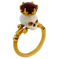Catacomb Saint Skull Ring in 22 Karat Yellow Gold, Enamel & Rubellite Tourmaline
