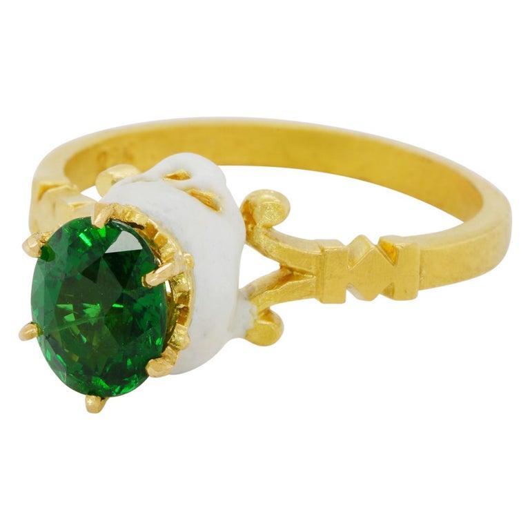 Baroque Catacomb Saint Skull Ring in 22 Karat Yellow Gold, Enamel and Tsavorite Garnet
