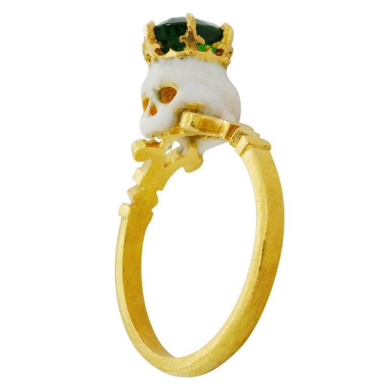 Catacomb Saint Skull Ring in 22 Karat Yellow Gold, Enamel and Tsavorite Garnet In New Condition In Fitzroy, AU
