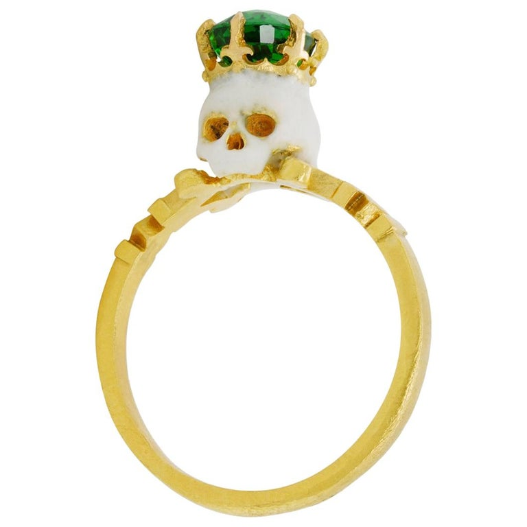 Catacomb Saint Skull Ring in 22 Karat Yellow Gold, Enamel and Tsavorite Garnet
