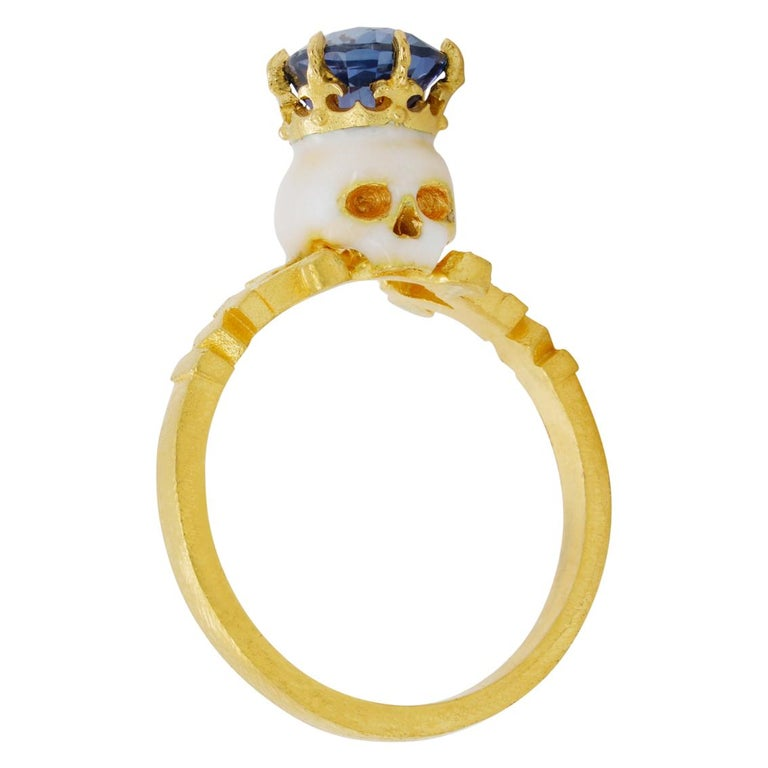 Baroque Catacomb Saint Skull Ring in 22 Karat Gold, Enamel and Violet Blue Sapphire For Sale