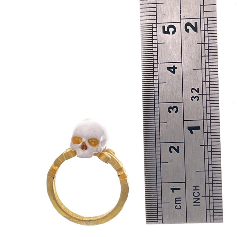 Catacomb Saint Skull Ring in 24 Karat Yellow Gold and Enamel For Sale 11
