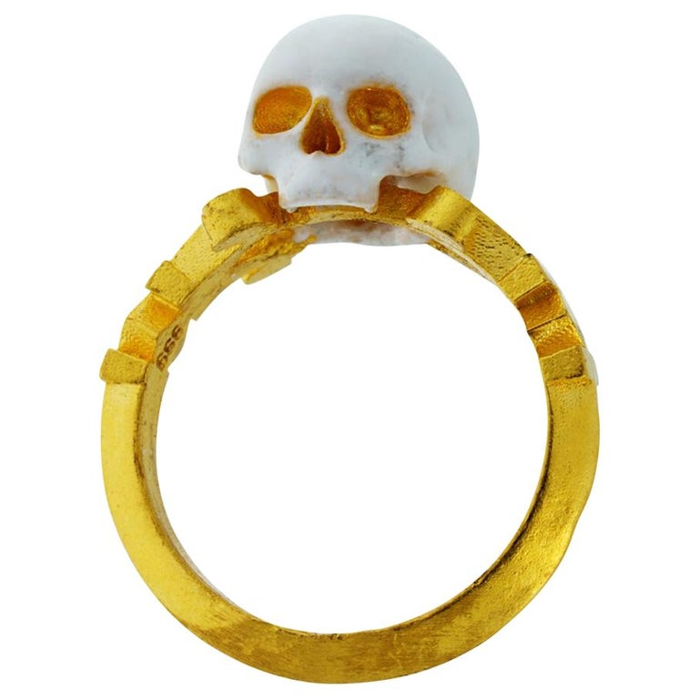 Catacomb Saint Skull Ring in 24 Karat Yellow Gold and Enamel For Sale