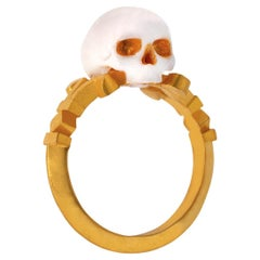 Catacomb Saint Skull Ring in 24 Karat Yellow Gold and Enamel