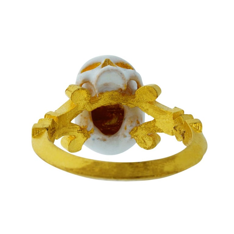 Catacomb Saint Skull Ring in 24 Karat Yellow Gold and Enamel For Sale 10
