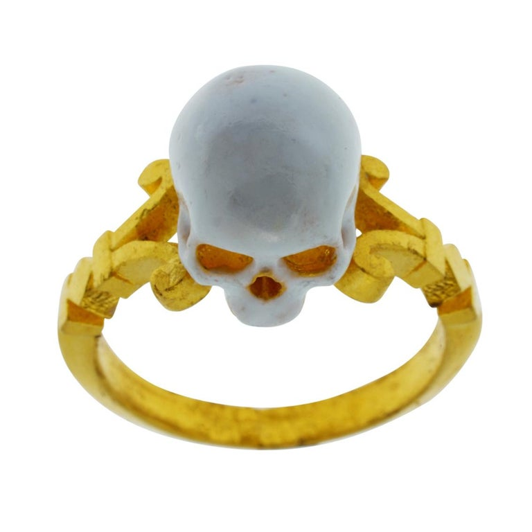 Baroque Catacomb Saint Skull Ring in 24 Karat Yellow Gold and Enamel For Sale