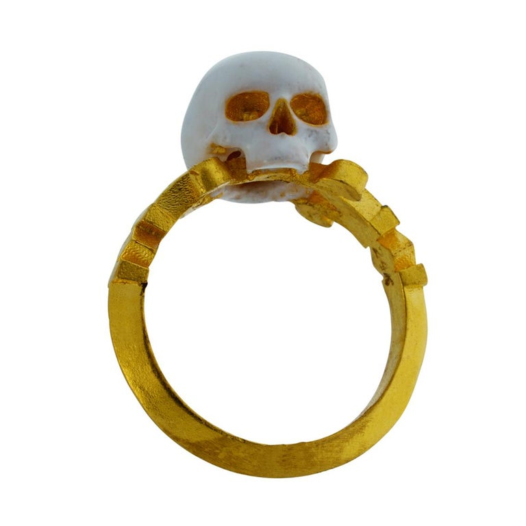 Women's or Men's Catacomb Saint Skull Ring in 24 Karat Yellow Gold and Enamel For Sale