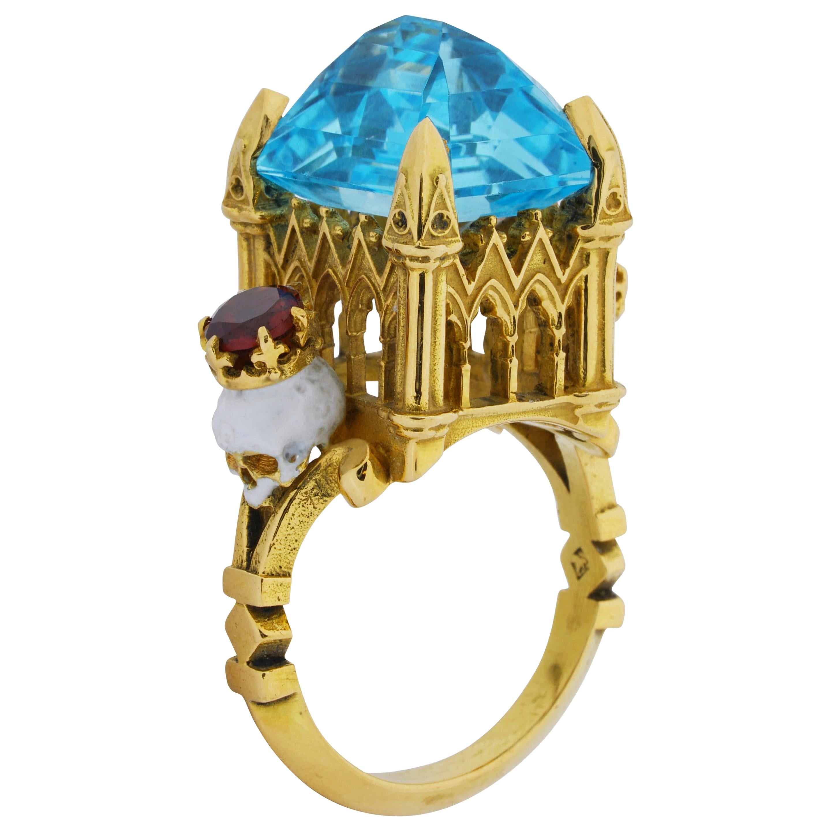 Catacomb Saints Cathedral Ring in 18 Karat Yellow Gold with Topaz and Garnets