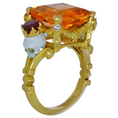 Catacomb Saints Garland Ring in 18kt Yellow Gold Citrine Garnets & Pink Diamonds