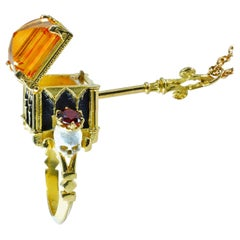 Catacomb Saints Poison Chamber Ring in 18 Karat Gold with Citrine and Garnets