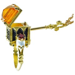Catacomb Saints Poison Chamber Ring in 18kt Yellow Gold with Citrine and Garnets