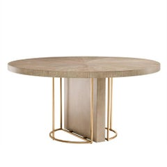 Catalaga Round Dinning Table in Washed Oak Veneer and Brass