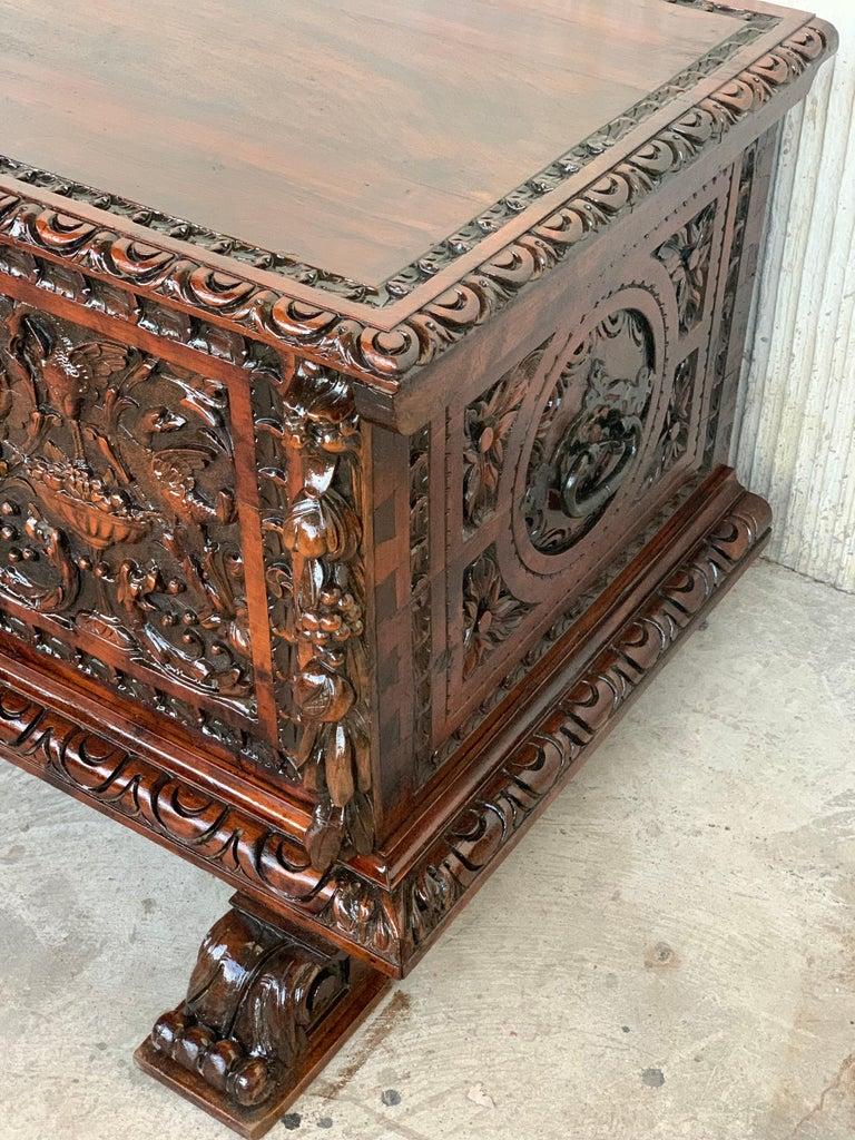 Catalan Baroque carved walnut cassone or trunk, 18th century.