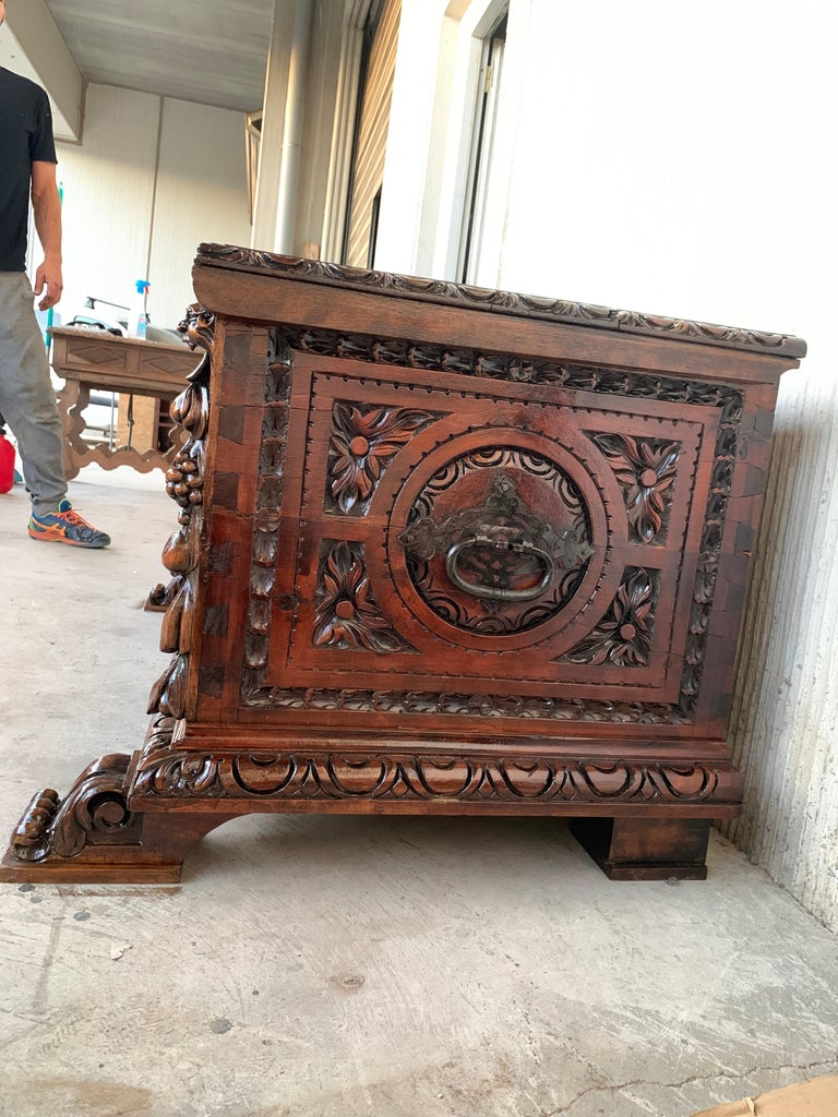 Spanish Catalan Baroque Carved Walnut Cassone or Trunk, 18th Century For Sale