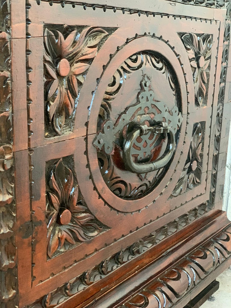 Velvet Catalan Baroque Carved Walnut Cassone or Trunk, 18th Century For Sale