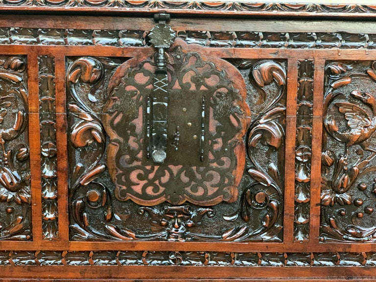 Catalan Baroque Carved Walnut Cassone or Trunk, 18th Century For Sale 1