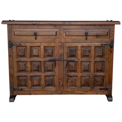 Catalan Spanish Baroque Carved Walnut Tuscan Two Drawers Credenza or Buffet