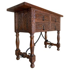 Catalan Spanish Carved Walnut Console Sofa Table, Four Drawers & Iron Stretcher