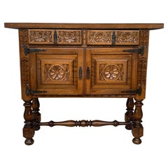 Catalan Spanish Hand Carved Cabinet with Two Doors and Two Drawers