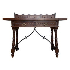 Catalan Spanish Lady Desk or Console Table in Carved Walnut and Iron Stretcher