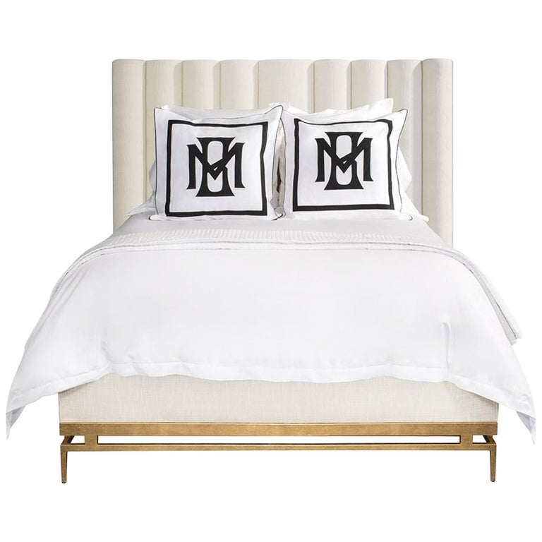 Catalina Queen Bed in White & Gold by Badgley Mischka Home 1