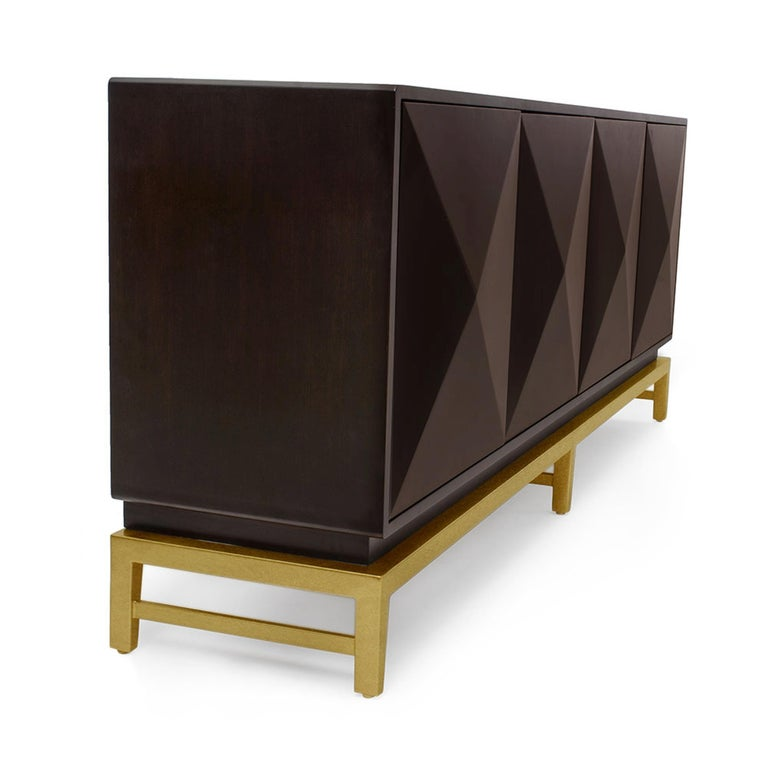Modern Catalina Sideboard in Chocolate & Gold by Badgley Mischka Home For Sale