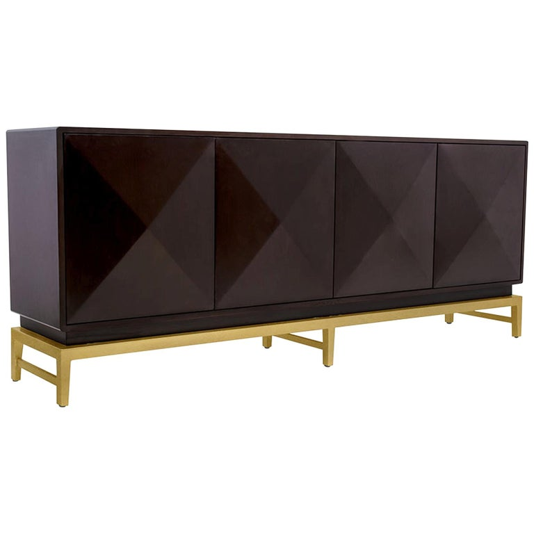 Catalina Sideboard in Chocolate & Gold by Badgley Mischka Home For Sale