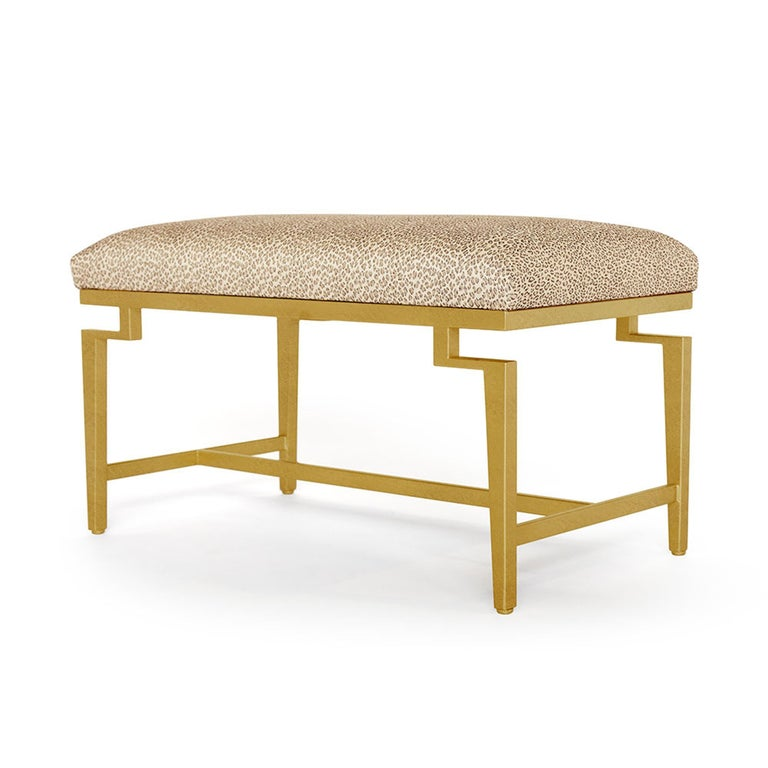 Catalina Vanity Bench with Gold Leaf Detail by Badgley Mischka Home 3
