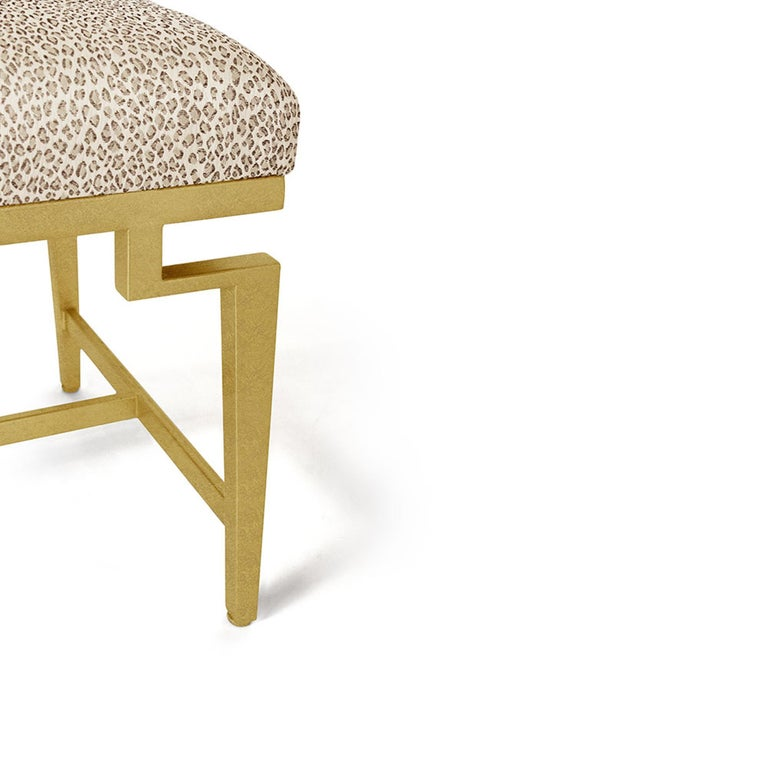 Catalina Vanity Bench with Gold Leaf Detail by Badgley Mischka Home 4