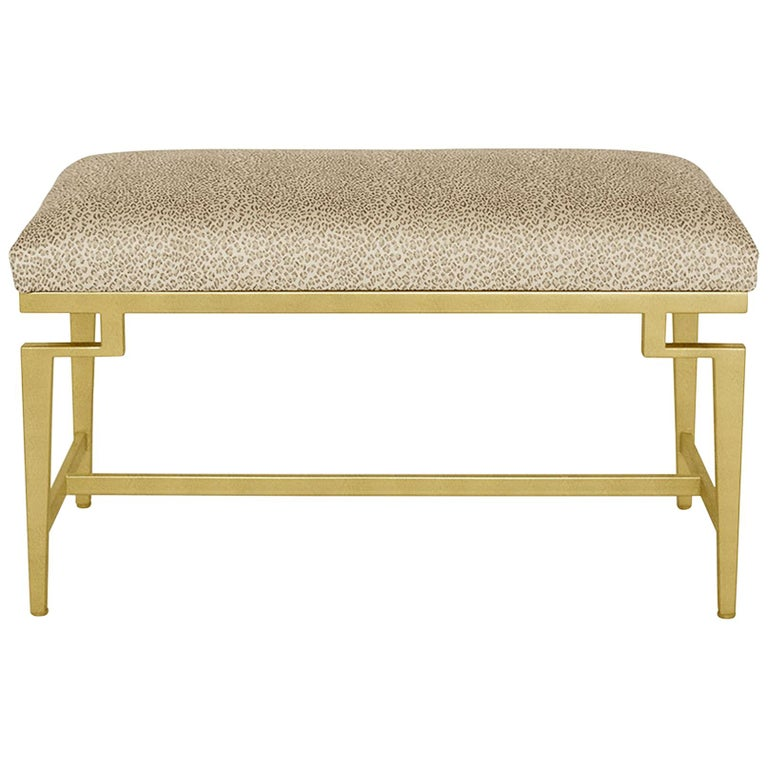 Catalina Vanity Bench with Gold Leaf Detail by Badgley Mischka Home 1