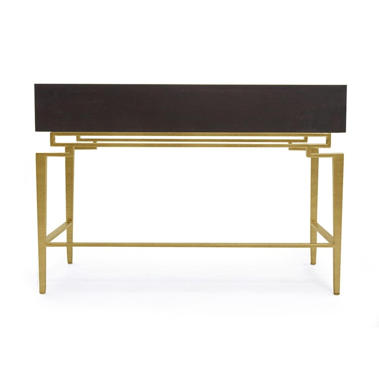 The Catalina Vanity is a beautiful addition to a sophisticated bedroom. Three wood soft-close drawers rest atop modern, stylized metal framework in the perfect touch of magnificence. Due to the handcrafted nature, each piece may have subtle and
