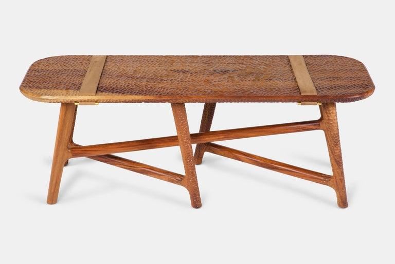 Catalina Hammered-Wood Bench